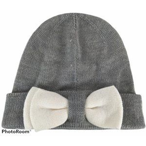 Kate Spade Bow Gray ColorBlock Beanie Hat